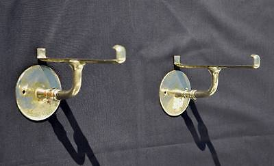 Antique Chrome Plated Brass Bathroom Shelf Brackets Hooks Restoration