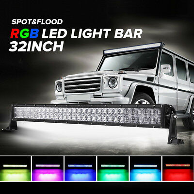 """5D 32inch 600W RGB CREE LED Light Bar Combo Offroad Driving 4x4WD Halo Ring 30"""""""