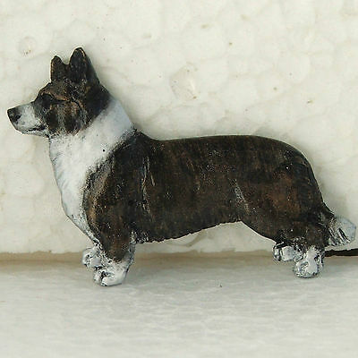 Corgi Welsh Cardigan Brindle White Chest Neck Resin Brooch Dog Breed Handpainted