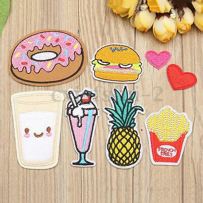 8Pcs Embroidery Fruit Food Pacth Badge Fabric Applique Iron Sew On Cloth Bag