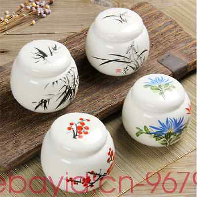 4 PCS mini containers jars tea caddies ceramic jars and lids small bottles