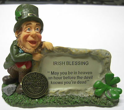Ireland Leprechaun Irish Blessing May You Be In Heaven Plaque