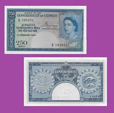 Cyprus Government of Cyprus - 250 Mils, 1956. UNC - Reproductions