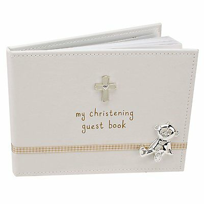 Button Corner My Christening Guest Book With Presentation Box Gift 40 Pages