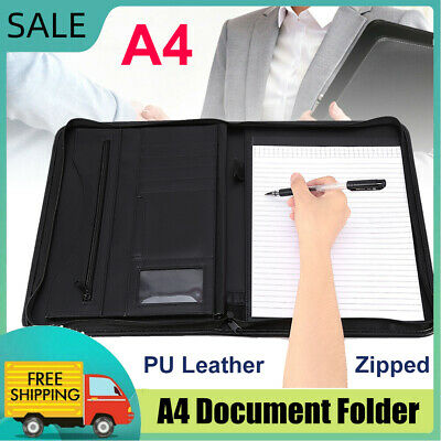 A4 Zipped Conference Folder Business Faux Leather Document Case Bag Portfolio AU
