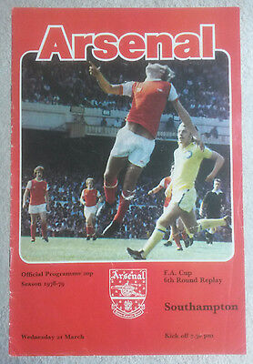 Arsenal v Southampton FA Cup 6th Round Replay 1978 - 1979
