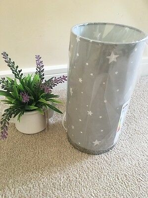 *NEW Nursery BOYS KIDS CYLINDER Grey stars table bedside table lamp white