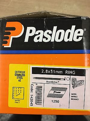 Paslode Stainless Steel Ring Nails 2.8 X 51Mm 1250 Pack - 2 Packs Available