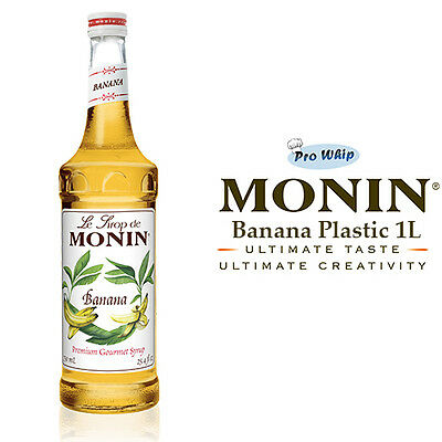 MONIN Coffee Syrups - YELLOW BANANA - 1L Plastic Bottle - USED BY COSTA COFFEE