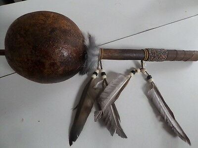 Shamanic Rattle, large, dried gourd, Native American