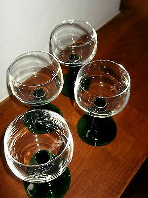 4 Traditional German Style Vintage Luminarc Green stemmed Wine Glasses