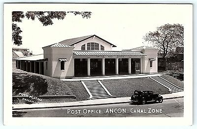 Postcard Ancon Canal Zone Panama Post Office RPPC Airmail Stamp Cancel Cover B21