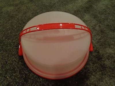 Tupperware Pie Cake Saver Taker Carrier Red Carolier Handle  Red Tray NEW IN PAC