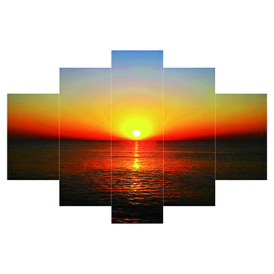 5pcs Canvas Wall Art Painting Picture SEASIDE &SUNSET Unframed Decor Gift