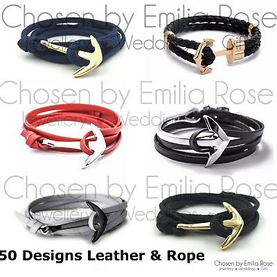 Silver & Gold Anchor Bracelet Rope Leather Wrap Around Bangle Gift Present Mens