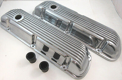SB Ford SBF Finned Polished Aluminum Short Valve Covers W/ Gaskets 289 302 351W