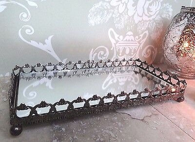 Small Vintage Style Mirror Tray in Antique Silver for Candles, Votive, Trinkets
