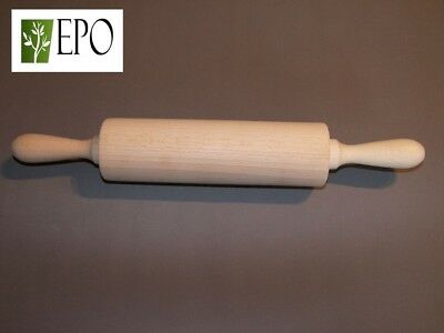 39 cm LONG LARGE WOODEN ROLLING PIN PASTRY COOKING BAKING WITH REVOLVING HANDLES
