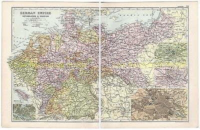 German, Empire, Netherlands, & Belgium, - Antique Colour Map 1910 With Insets