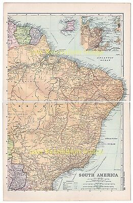 South America, North East, Brazil, - Antique, Colour, Map, 1910, With Insets