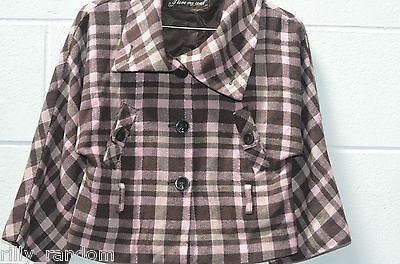 Older Girls Brown and Pink Check Swing Coat UK Age 10-11 Years from Matalan