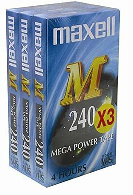 VHS Video Tape Maxell 4 hour E240M Mega Power Pack of 3