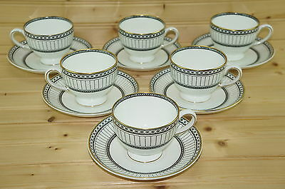 "Wedgwood Colonnade Black Set of (6) Footed Cups, 2 3/4"" & (6) Saucers, 5 7/8"""