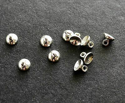 10 silver Plated bead cap cup end bails 6MM for jewellery making