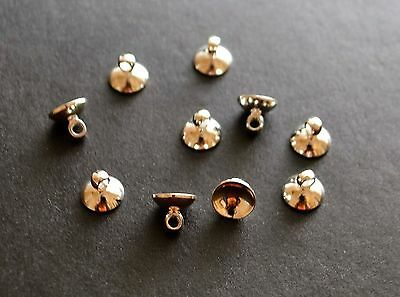 10 silver plated bead cap cup end bails 8mm for jewellery making