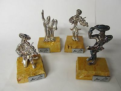 Ben-Zion Israel 4 Miniatures 3 Musicians Moses .925 Sterling Excellent Condition