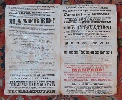 *lord Byron Rare 1834 Covent Garden Color Double Play Broadside Manfred*