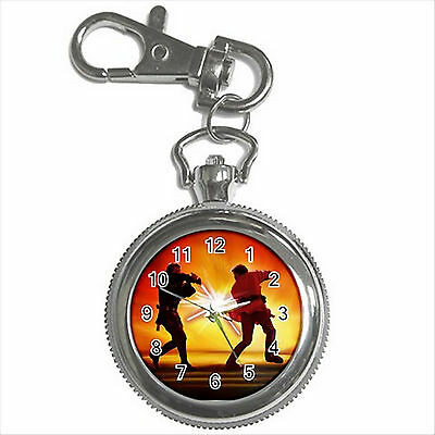 NEW* HOT STAR WARS FIGHT Silver Color Tone Key Chain Ring Watch Gift D01