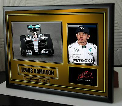 """Lewis Hamilton Black Framed Signed """"Great Gift"""" Gold 44 Limited Edition"""