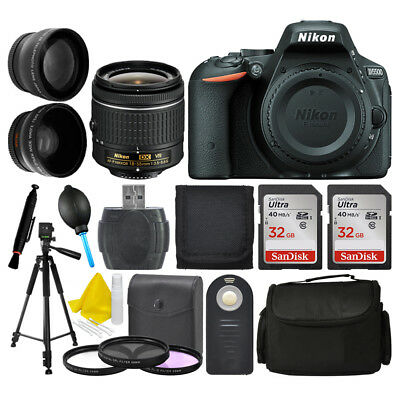 Nikon D5500 Digital SLR Camera + 3 Lens Kit: 18-55mm VR Lens + 64GB Bundle