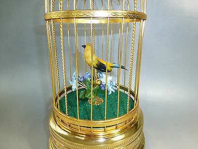 VINTAGE SINGING BIRD CAGE MUSIC BOX AUTOMATON RARE TO FIND MODEL (Watch Video)