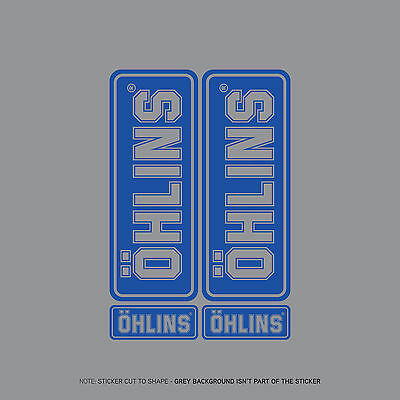 SKU2420 - Set Of 4 Ohlins Stickers - Decals - Motorcycling - Blue On Clear