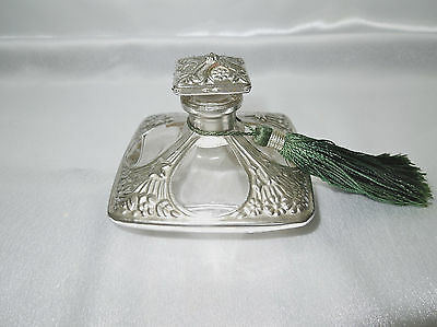 Antique Vintage Silverplated Copper Overlay Clear Glass Perfume Bottle