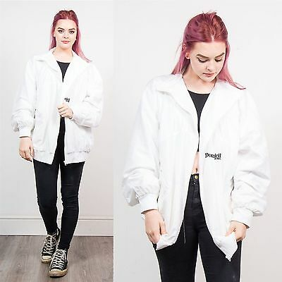 Womens Vintage 90's White Tracksuit Jacket Top Shell Oversize Retro Casual 20