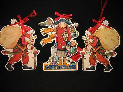 Lot of 3 Mary Engelbreit Die Cut Paper On Wood Ornaments