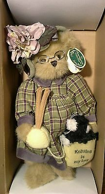 The Bearington Collection Mrs. Knitter and Pearl Bear in Original Box, 14""
