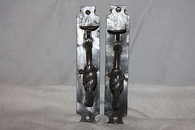 Pair of Primitive 1800's Early Handmade Wrought Iron Door Thumb Latches Handle