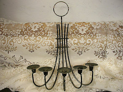 Vintage Spanish CAST METAL 5 Arm CANDLE Holder Wall SCONCE Medieval Gothic Style