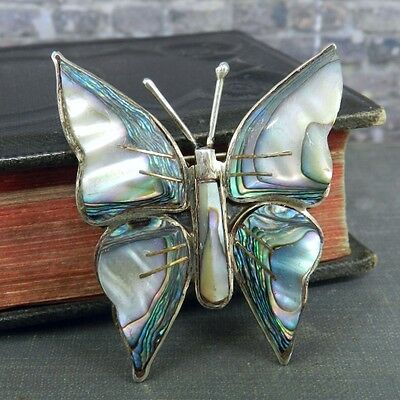 Signed SJB Mexico Sterling Silver & Abalone Butterfly Pin / Brooch