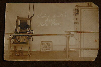 1910 era Prison Electric Chair Execution RPPC Real Photo Post Card State Pen!!!!