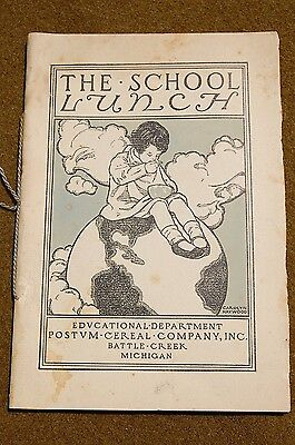 1925 Postum Cereal Co. Advertising Booklet THE SCHOOL LUNCH Woodblock Prints!!!!