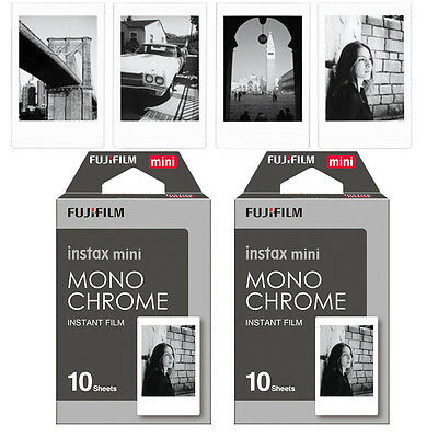 20 Monochrome Fujifilm Instax Mini Film For Fuji Instant 90 70 7s 8 SP1 50s Lomo