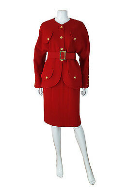 *chanel* Vintage Red Wool Two Piece Skirt Suit