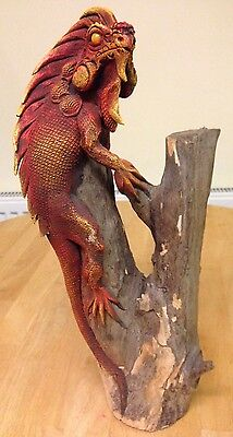 """Carved Wood Beautiful Red Iguana (Teak - Approx. 15"""") - from Northern Thailand"""