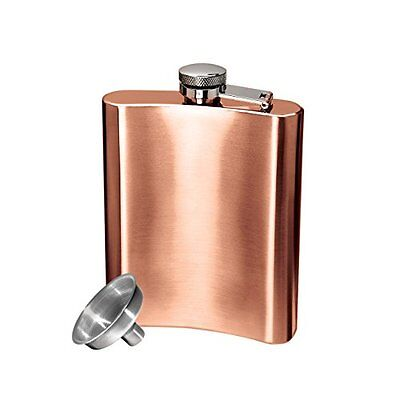 Oggi Copper Plated Stainless Steel 8 Ounce Hip Flask with Filling Funnel