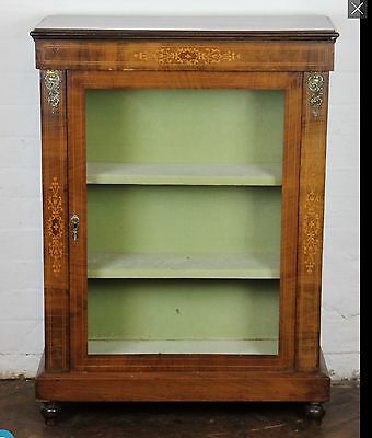 antique victorian pier  display cabinet brass detailing bookcase velvet lined